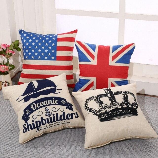 2f5cbabf1c208 Bandeira impressão Crown Cotton Linen praça sofá capa de almofada Car  escritório cochilo lance fronha Decorbox