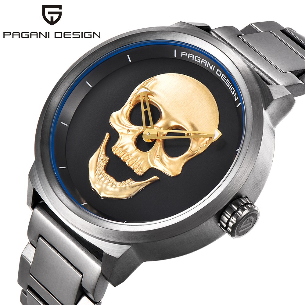 PAGANI DESIGN Brand Punk 3D Skull Men Watch Quartz Waterproof Stainless Steel Male Retro Wrist Watch Men Clock relogio masculino цена