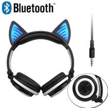 Vadeable cosplay gato oreja auriculares bluetooth inalámbrico auriculares estéreo de auriculares con el mic para el iphone samsung universal 3.5mm aux