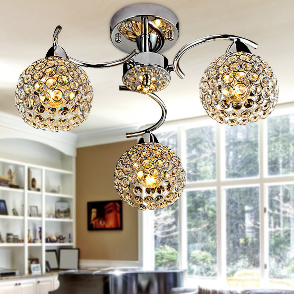 Simple Led Suction Dome Light Modern Crystal Ceiling Lamp
