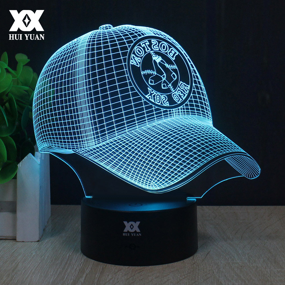 Boston baseball cap 3d lamp led remote control night light usb boston baseball cap 3d lamp led remote control night light usb desktop decorative table lamp creative child gift hui yuan brand in night lights from lights geotapseo Image collections