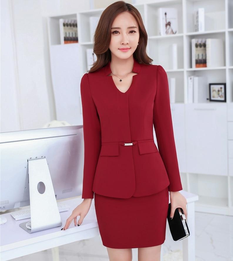 Nuevo uniforme estilos rojo elegante femenino Delgado