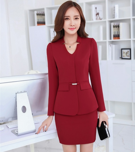 520c04154 € 43.84  Nuevo uniforme estilos rojo elegante femenino Delgado Blazers moda  trajes chaquetas y falda 2015 Otoño e Invierno señoras Oficina Blazers ...