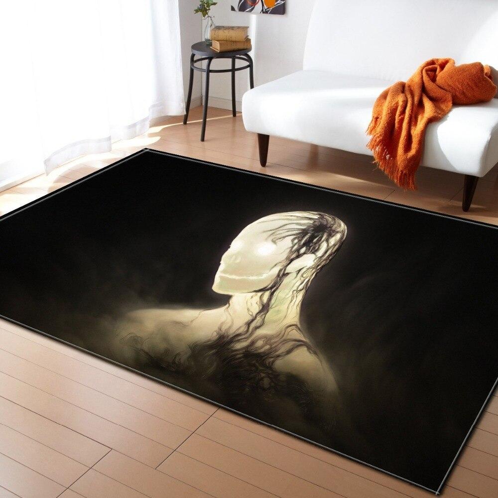 3D crâne imprimé noir tapis pour salon literie chambre grand Rectangle zone tapis moderne extérieur sol tapis décor à la maison R620