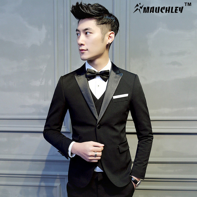 3 Pieces (Jacket+Vest+Pant) Black Tuxedo Mens Prom Suits Wedding ...
