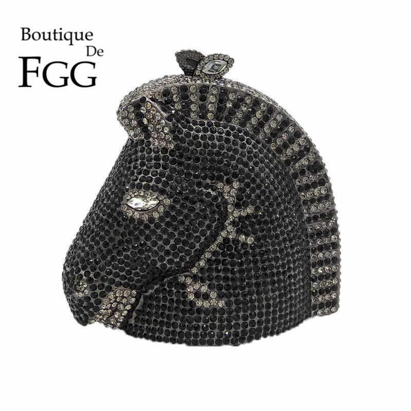 Бутик De FGG алмаз голова лошади Minaudiere клатч вечерние сумки для женщин Кристалл животных кошельки и сумки Свадебная Коктейльная сумочка