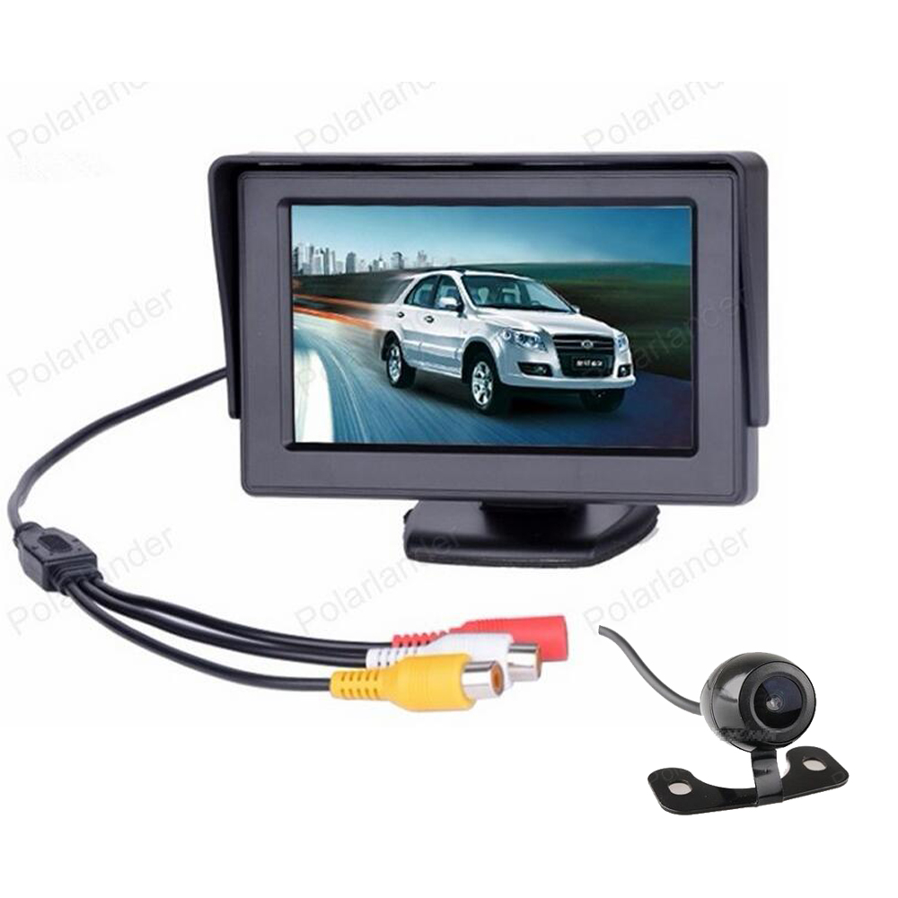 4.3 inch TFT LCD 2-channel video input Car Monitor with Rearview Reverse Camera for DVD, VCD