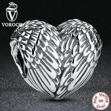 Accesorios Del Regalo Del Amante Vintage Sterling 925 Silver Love Heart Wing Bead Fit Pandora Pulsera y el Collar S033