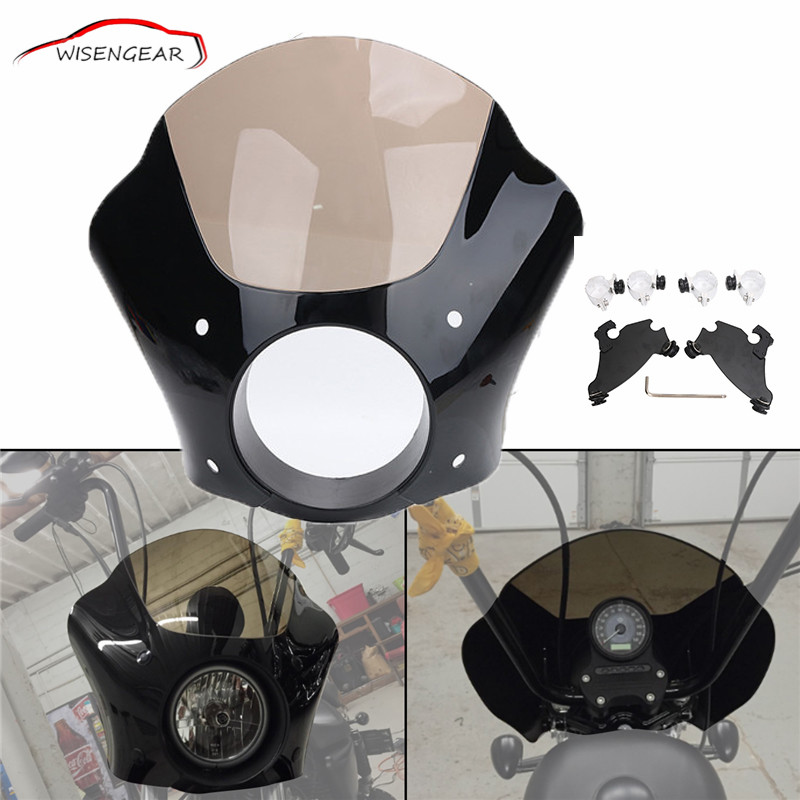 WISENGEAR Gauntlet Headlight Fairing Mask + Trigger Lock Mount Kit For Harley Sportster 883 1200 Dyna Super Glide Low Rider C/5 marz ron infinity gauntlet aftermath
