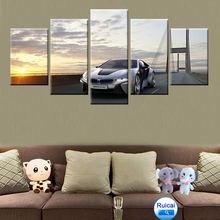 5 pieces of BMW silver sports car poster home decoration living room canvas wall art HD printing picture frame modern