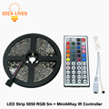 IR Mini44Key Controller + 5m 5050 DC12V 60LED/m RGB Flexible LED Strip set,1set/lot