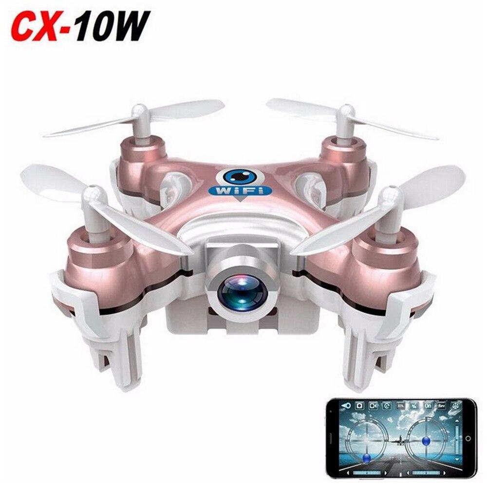 Cheerson RC quadrirotor CX-10W CX10W Wifi FPV 0.3MP caméra LED 3D Flip 4CH CX10 mise à jour Version Mini Drone BNF hélicoptère jouet cadeau
