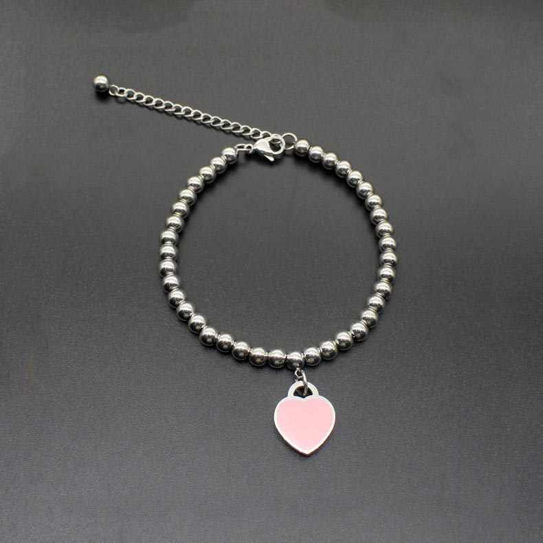 Fashion popular titanium steel bracelet heart-shaped bead chain stainless steel female couple couple bracelet accessories hot sa