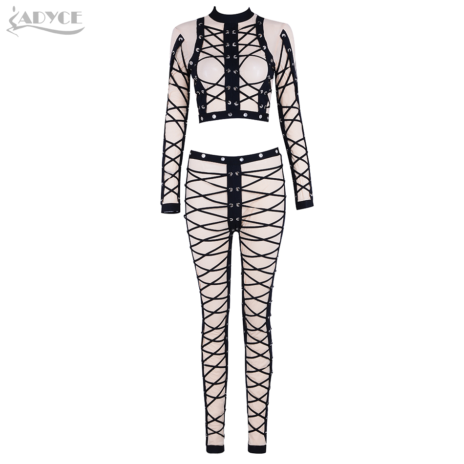 Adyce 2018 Winter Dress 2 Pieces Set Sexy Apricot Women Long Sleeve Lace Up Mesh Cropped Top& Pants Two Piece Party Woman Set cropped wide sleeve top