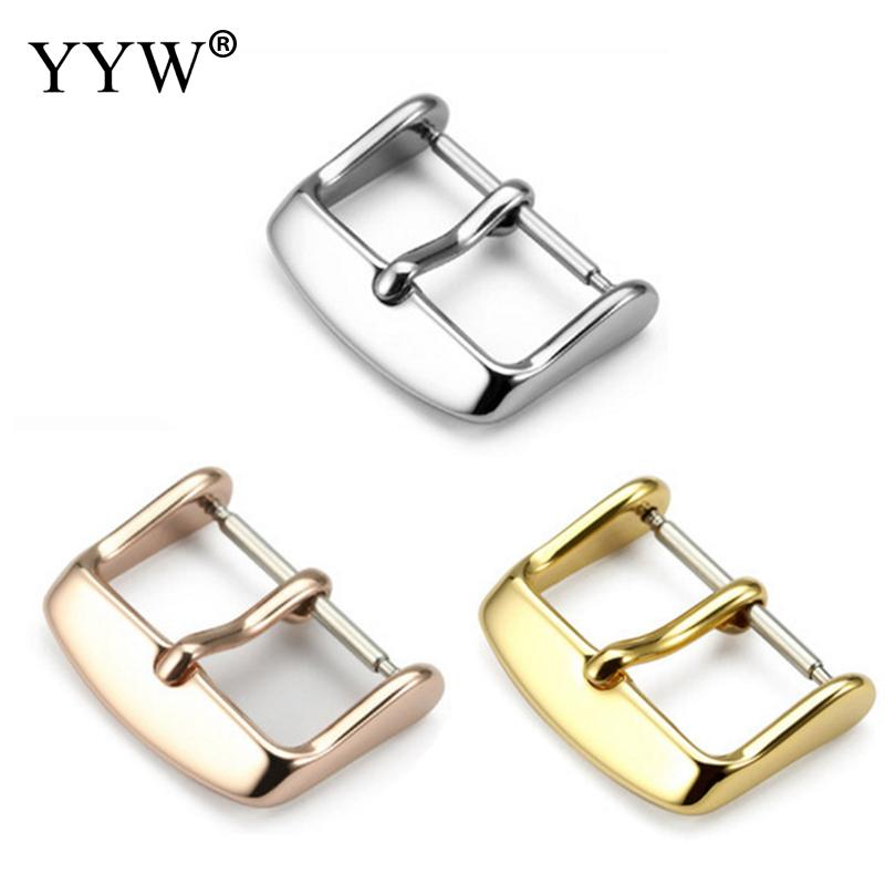 Stainless Steel Watch Band Clasp 12mm 14mm 16mm 18mm 20mm 22mm Silver Gold Black Metal Leather Watchbands Strap Pin Buckle Belt