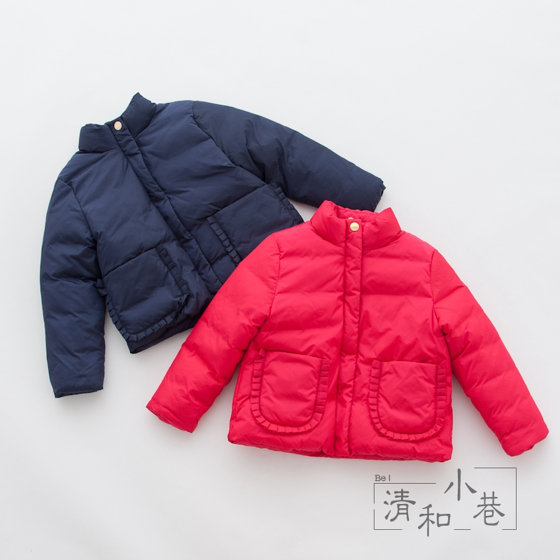 Girls Solid Color Cotton Coat Winter New Childrens Hooded Cotton Suit Simple Temperament AGirls Solid Color Cotton Coat Winter New Childrens Hooded Cotton Suit Simple Temperament A