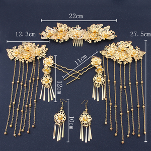 Image 2 - Chinese show and Hanfu bridal tiara suit tassels Feng Guanxia hair accessories wedding red costume show