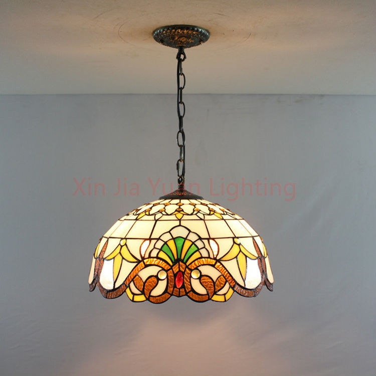 """16"""" Tiffany Style Stained Glass Pendant Lights Bronze 2"""