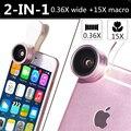 2en1 m3e m2 mini m3s hd kit de lentes para meizu mx4 0.36x amplia 15x de ángulo macro lentes de la cámara para samsung galaxy j3 a7 a8 grand prime