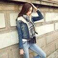 3xl plus size denim jeans mulheres casaco primavera outono 2016 bermuda feminina de veludo engrossar jaqueta jeans curto feminino casaco A1440