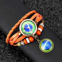 Дешевый! Очистка наличии! Я люблю Бразилии! Для женщин кожаный браслет часы Женское платье часы Круглый Винтаж наручные № 248