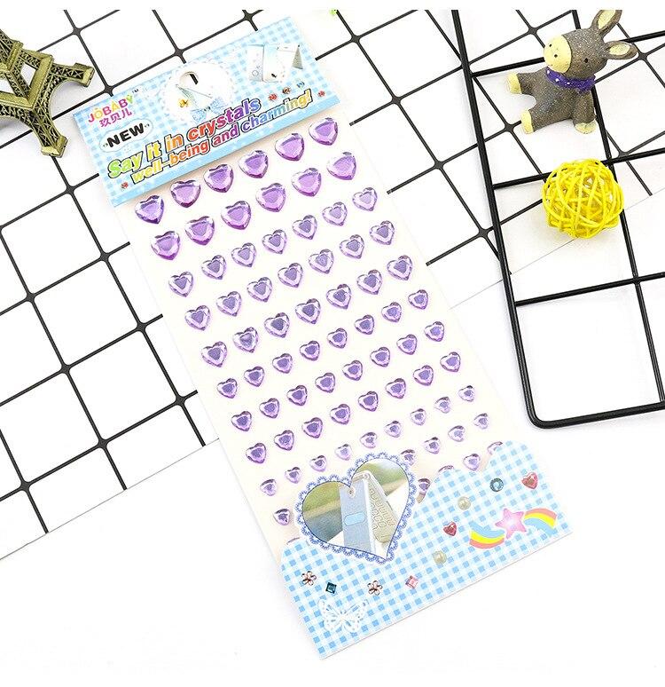 Детские игрушки наклейка в форме сердца DIY Наклейка мобильного искусства Кристалл бриллиант Стразы самоклеющиеся Скрапбукинг Стикеры s GYH - Цвет: Purple