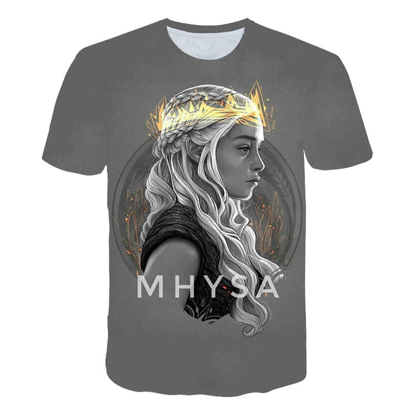 2019 новые футболки летняя мужская футболка с 3d принтом Игра престолов модная брендовая мужская футболка Игра престолов футболка
