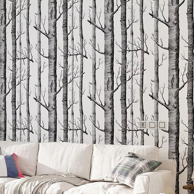 Black White Birch Tree Wallpaper For Bedroom Modern Design Living