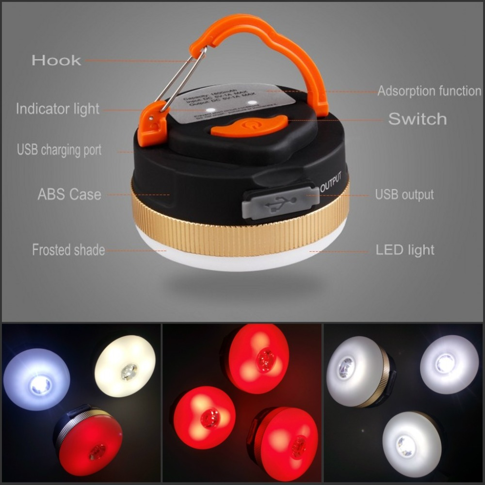 Camping Lights 3W+9LED 300LM Flashlight Work Lights Hanging Hook Magnetic Adsorption Emergency Light USB 1800mah Power Bank