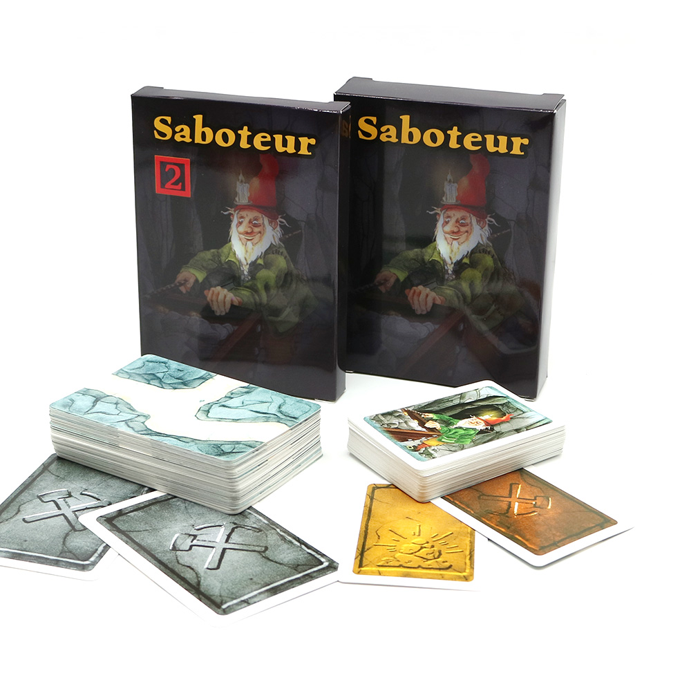 Hot Sale Multiple Language Rules Saboteur 1/ Saboteur 2 Expansion, Cards Game Table Game, Board Game