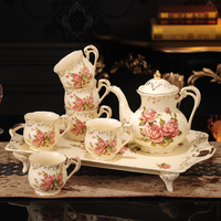 8 Piece Creative European Luxury Tea Set,Ivory Porcelain Ceramic Coffee Set With Red Rose Flower, For Wedding Decoration Party