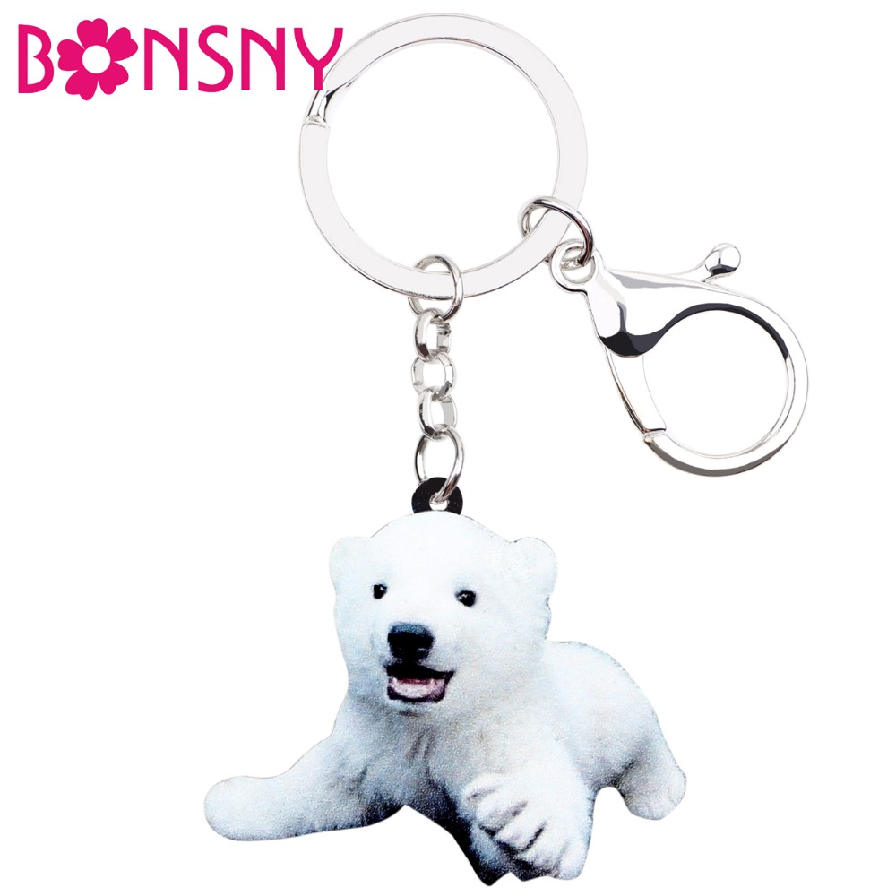 Key Chains Marte&joven Cute Bear Gift Keychain For Women Girls Unique Colorful Enamel Polar Bear Charm Jewelry Keyring Back To Search Resultsjewelry & Accessories
