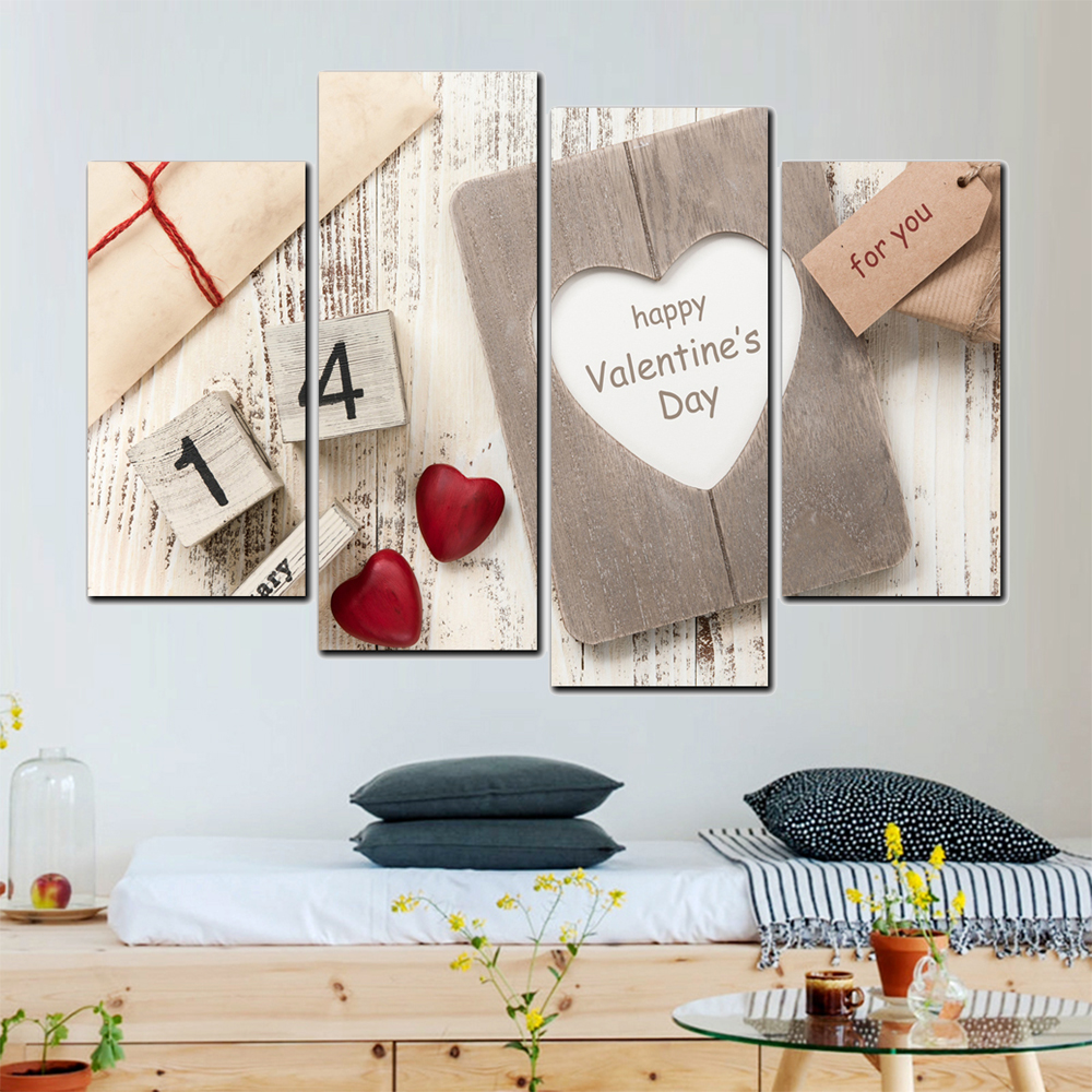 4 Sets Happy Valentine Day Canvas Printed Painting Wall Pictures For