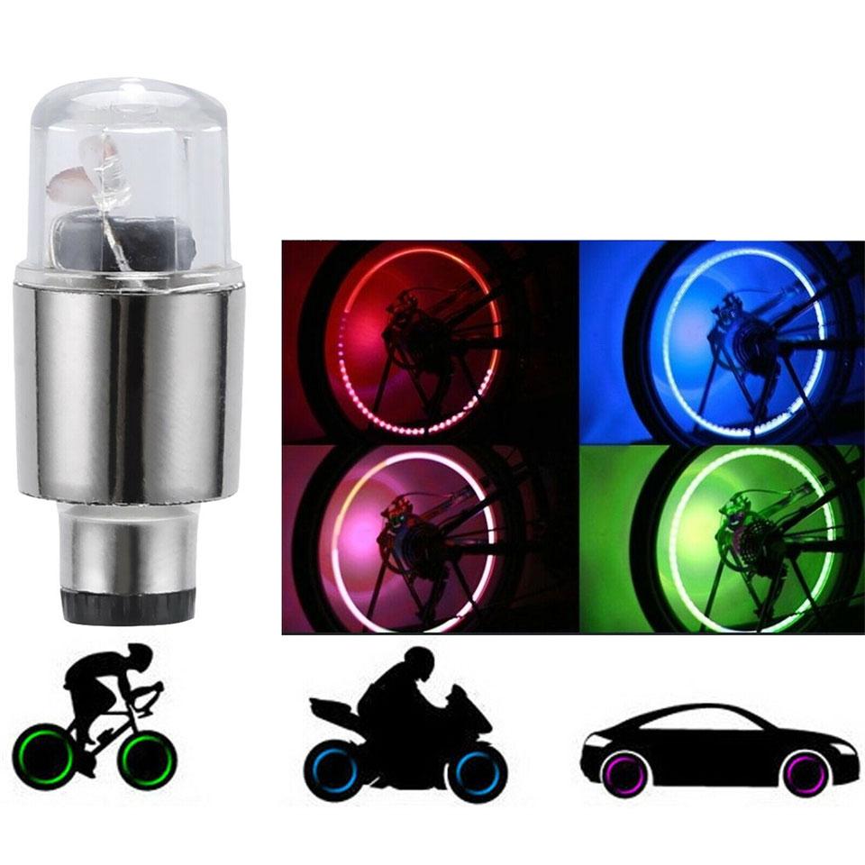 4pc Universal Bike Bicycle Tire Valve Stem Cap Neon LED Light For Dustproof