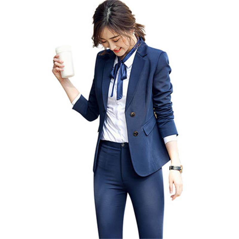 2 piece High-quality Pant Suits Formal Ladies Office Uniform Designs Women elegant Business Work Wear Jacket with Trousers Sets