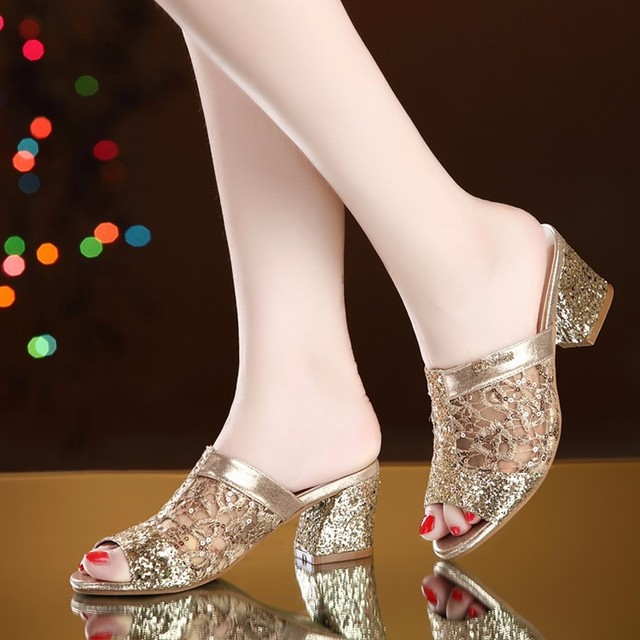 High-Heels Sandals Dress-Shoes Pumps Square Open-Toe Gold Shark-Woman STAN Womens Lace