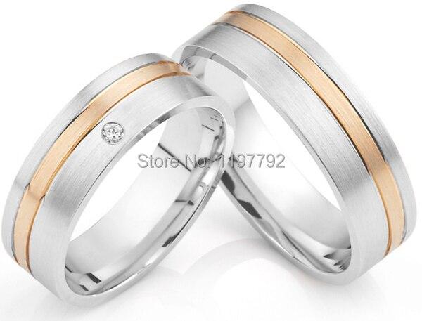 2014 personnalisé tailleur ses et ses anneaux rose et or blanc palting titane bague de mariage ensembles titan trauringe