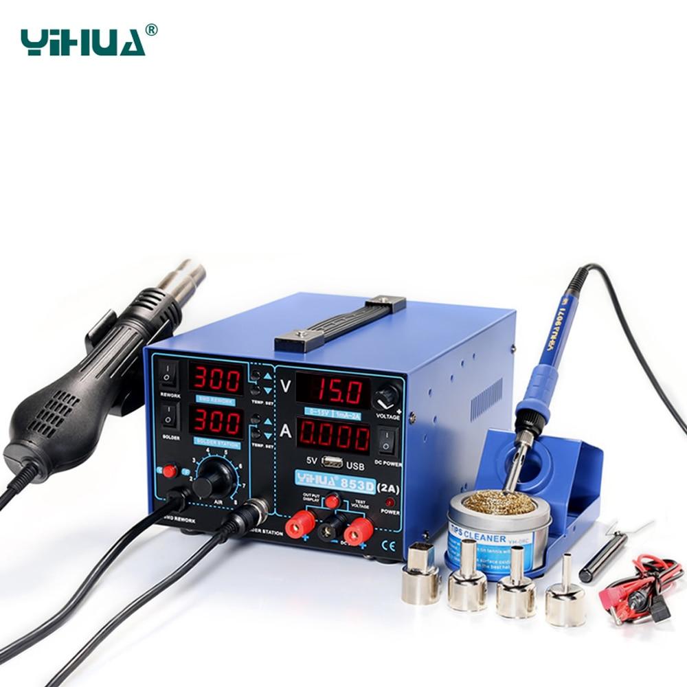 YIHUA 853D 2A avec 5 v USB station de soudage SMD DC alimentation pistolet à air chaud fer à souder station de soudage 3-en-1 220 v 110 v