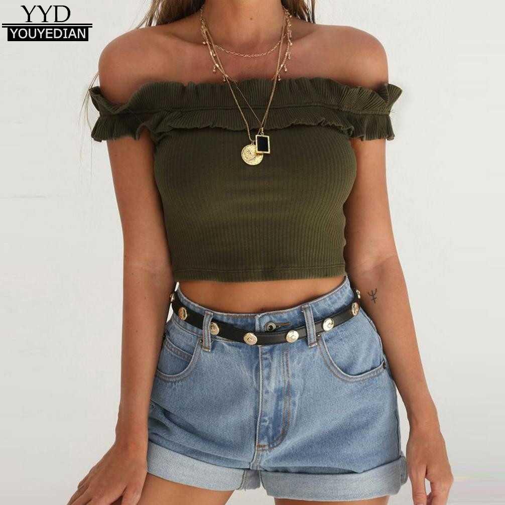 618cd5edfb7 ... Blouse Women Off Shoulder Top Slash Neck Bare Midriff Short Blouses  Shirts Crop Summer Sexy Tops ...