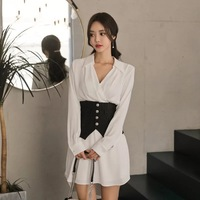 Mingjiebihuo fashion autumn women solid turn down collar dress new arrival long sleeve wild slim girls a line dress gift a be