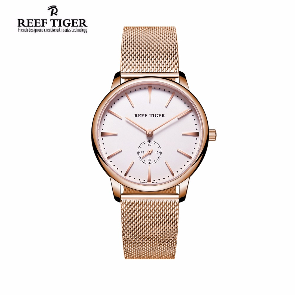 Reef Tiger/RT Casual Couple Watches for Men Rose Gold Tone Analog Quartz Watch RGA820 2x yongnuo yn600ex rt yn e3 rt master flash speedlite for canon rt radio trigger system st e3 rt 600ex rt 5d3 7d 6d 70d 60d 5d