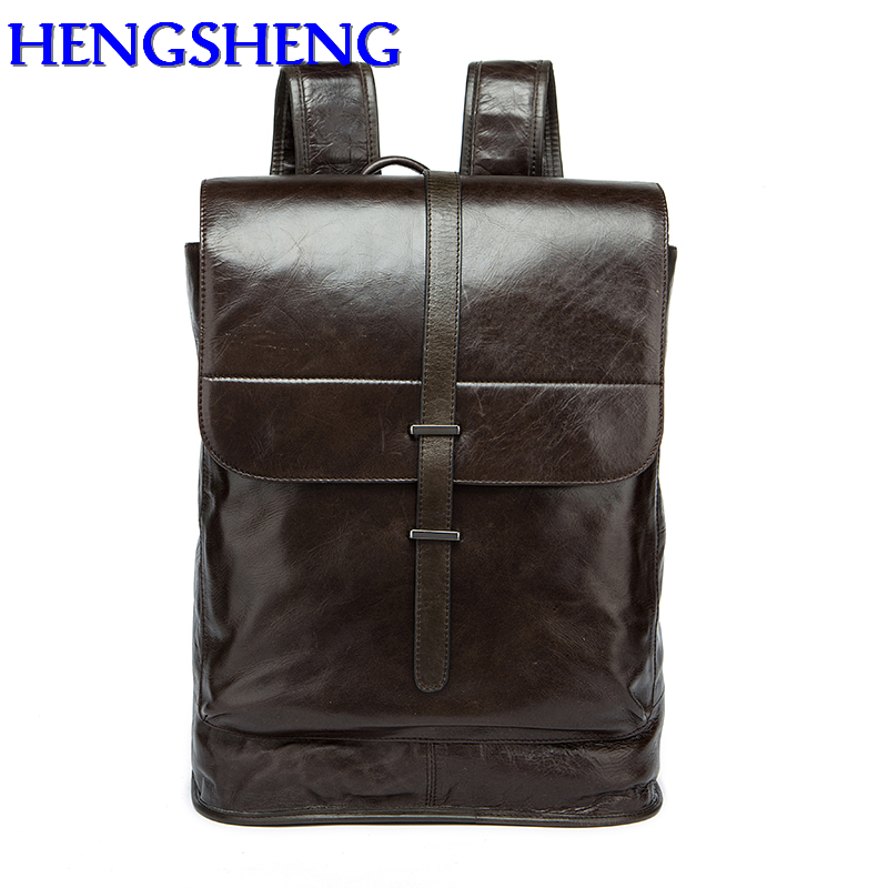 Hengsheng Casual soft handle men backpack with high quality genuine leather men backpack of solid cow leather male backpacks