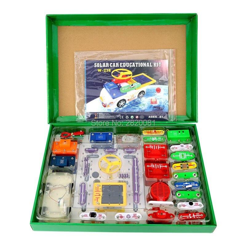где купить Solar educational kit electronic fan Snap circuits building blocks+electronic car model,kid's science experiment DIY funny toys по лучшей цене