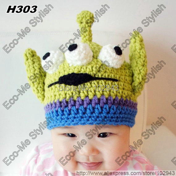 2013 New Fashion Newborn Baby Boy Monster Hat Handmade Crochet Alien
