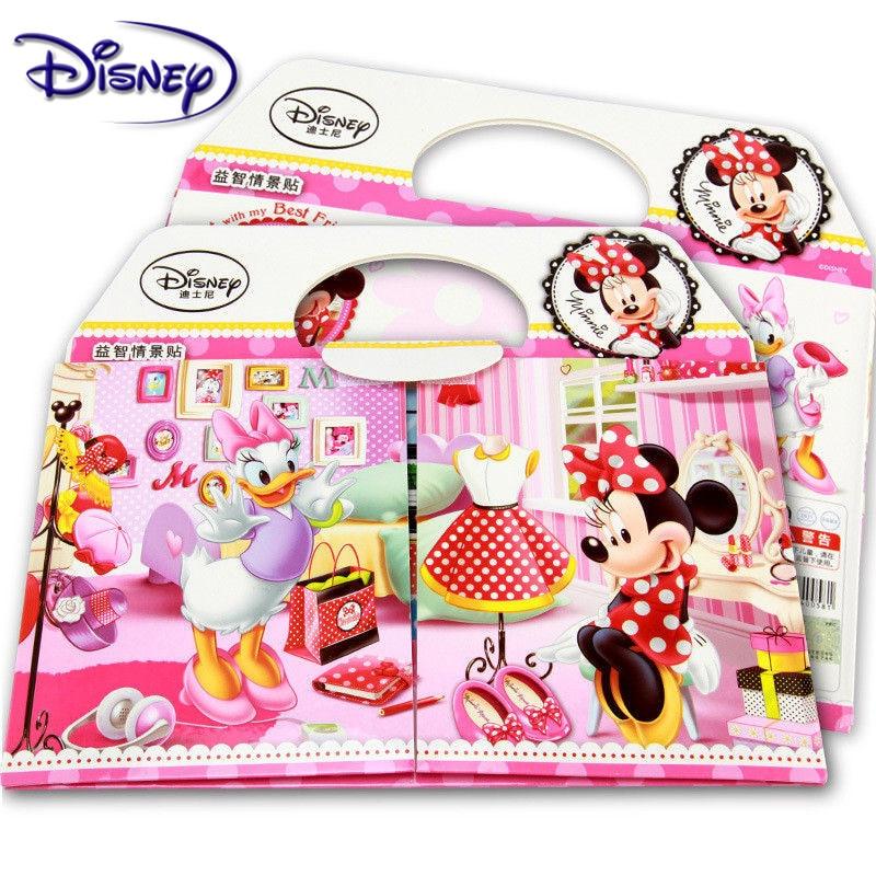Disney Kids Sticker Mickey Mouse Minnie Puzzle Handmade Stickers For Children Book Sticker Cartoon Pegatinas Autocollant Enfant