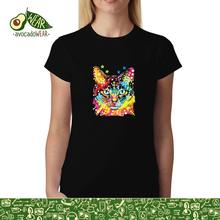 Colourful Cat Blue Neon Eyes Womens T-shirt XS-3XLStreetwear Funny Print Clothing Hip-Tope Mans T-Shirt Tops Tees Solid Color floral skull women t shirt s 3xl newstreetwear funny print clothing hip tope mans t shirt tops tees hot sale men t shirt fashion