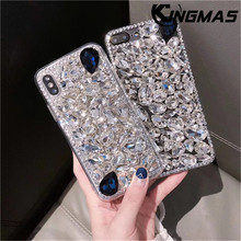 KINGMAS Jewelled Diamond phone case for iPhone 6 6S 7 8 plus flashing case for iPhone X XS XR MAX soft phone case