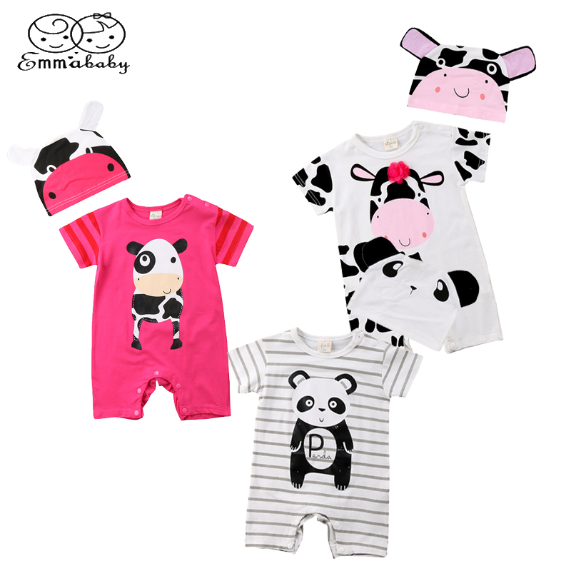 Emmababy Newborn Infant Baby Boy Girl 3 Animal Print Short Sleeve cotton Romper 3D Cows Hat Jumpsuit Clothes