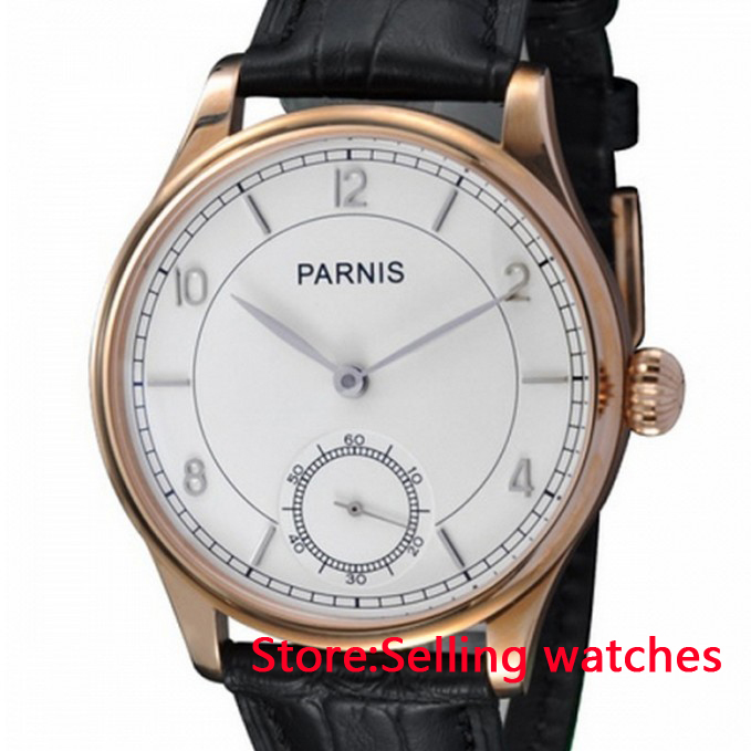 44mm Parnis gold plated case white dial hand wind 6498 Mechanical mens Watch