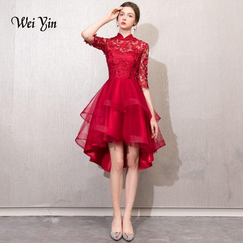 weiyin Cocktail Dresses Simple A-Line lace Elegant Summer Women 2019 Short Vestidos High Neck Sexy Women Cocktail Dresses WY785